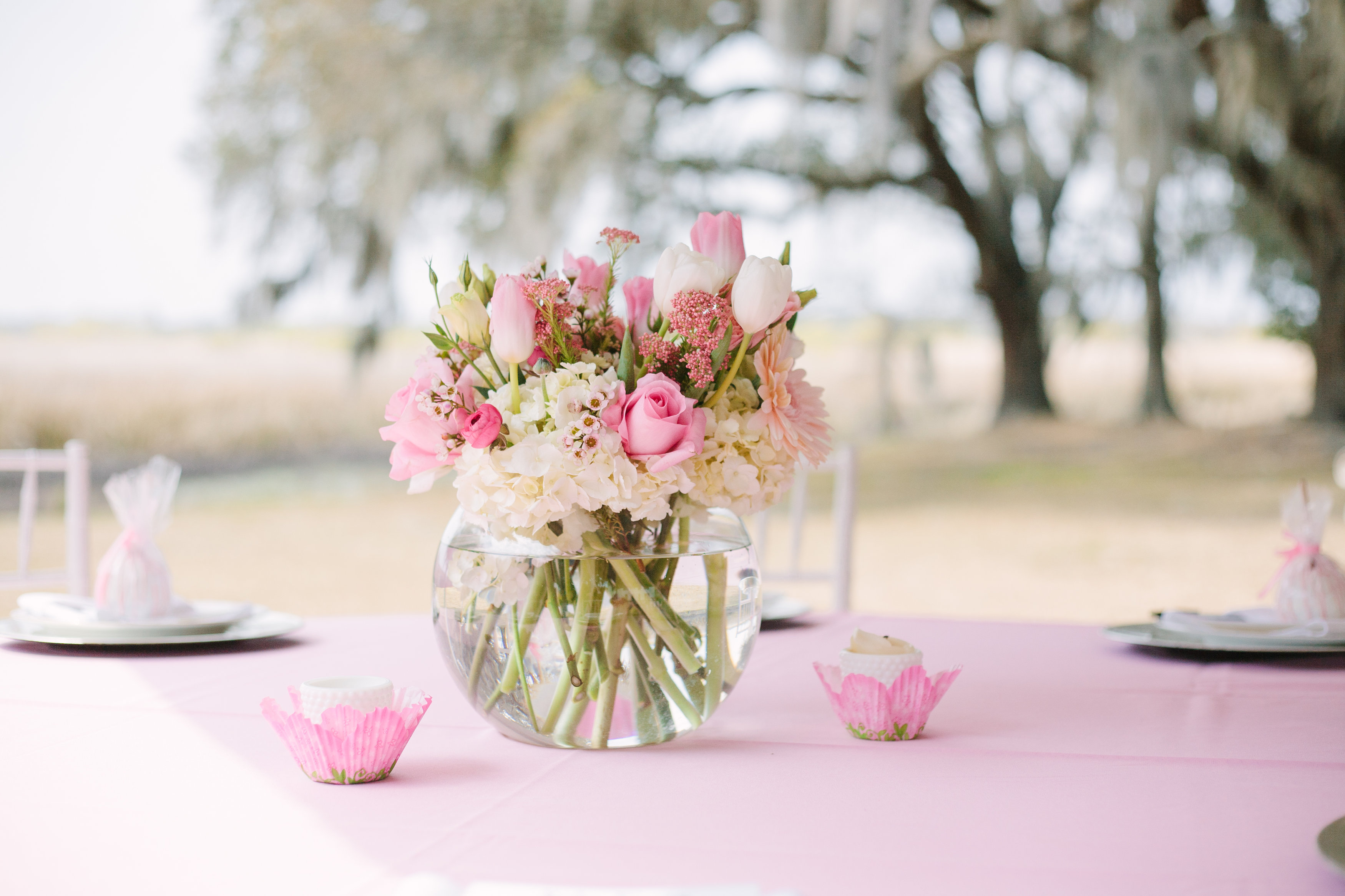 Pretty in pink a southern baby shower gigi noelle events for Baby shower flower decoration ideas